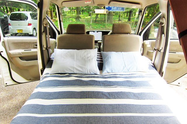 Daihatsu Atrai Miniature Camper Bed and pillows