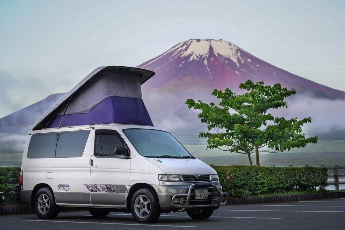 Mazda Bongo in front of Mt. Fuji
